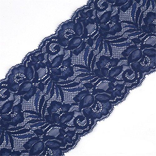 Cinta de encaje floral elástica de tul de 15 cm de ancho para manualidades, manualidades, ropa, accesorios, regalo, boda, fiesta, decoración azul marino