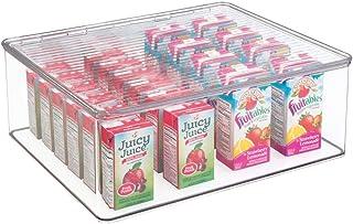 mDesign boîte de rangement avec couvercle – bac de rangement en plastique robuste pour conserves, épices, snacks, etc. – o...