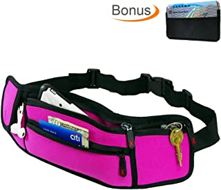 Casepax Travel Waist Bag Fanny Pack with Zipper Pockets Adjustable Belt for Sport Exercise Workout Vacation Hiking for iPhone 7 7S 6 6S Plus with Bonus RFID Blocking Card Holder, ES-610V2 Pink