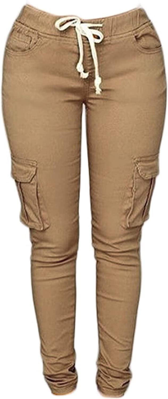 Andongnywell Women's Juniors Cargo Pocket Jogger Drawstring Pant Stretch Drawstring Skinny Pants