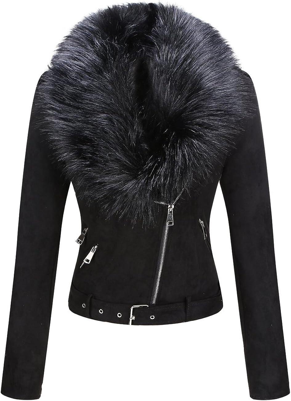 Bellivera Women's Faux Suede Jacket, Coat with Detachable Faux Fur Collar