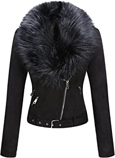 Bellivera Women's Faux Suede Short Jacket, Moto Jacket with Detachable Faux Fur Collar
