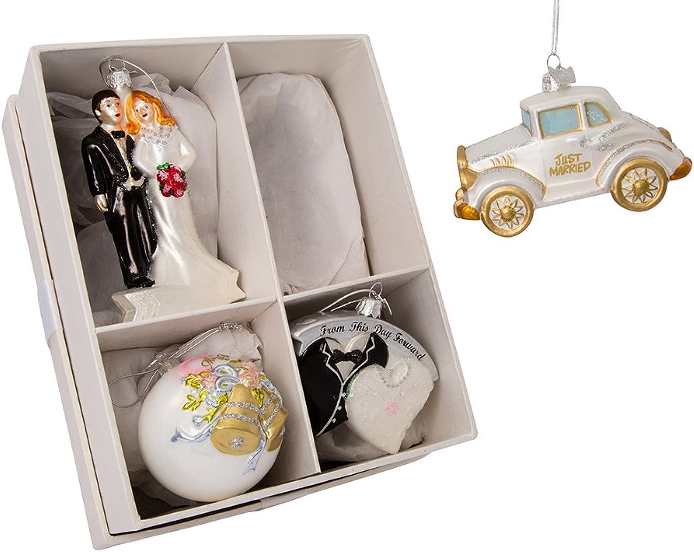 Kurt Adler 3.5 -5  Noble Gems Wedding Ornament Set of 4