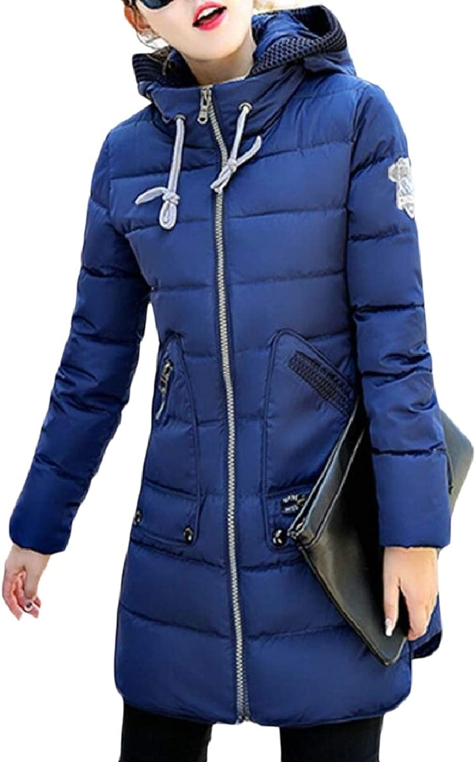 LEISHOP Women's Parka Mid Long Length Slim Fit Padded with Hood Down Jacket Coat