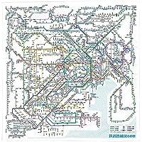 東京カートグラフィック 鉄道路線図 ハンカチ 首都圏日本語 × 5 セット RHSJ