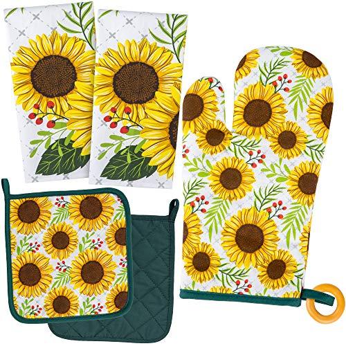 KOALAND Cute Sunflower Kitchen Towels 5 Piece Linen Set, 2 Oversized Tea Towels 2 Pot Holders 1 Oven Mitt, 100-percent Cotton Sunflower Decorative Dish Towels, Floral Pot Holders, Sunflowers Decor