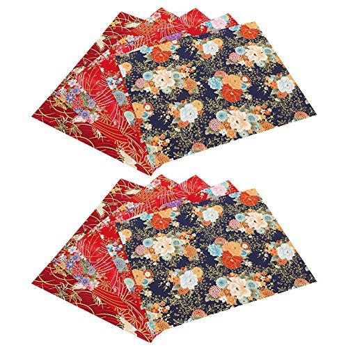 Atyhao 10 Piezas de Tela de algodón Floral, 9.8 x 7.9in Estilo japonés de algodón de algodón Artesanal Paquete de Tela Cuadrados Patchwork Tela Bronceado Impreso Acolchado Accesorios para Bolsa