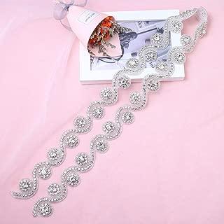 Rhinestone Applique, Lucky Goddness 1 Yard Glitter Silver Beaded Trim for DIY Bridal Belt Sash, Women Dress, Wedding Cake Decoration