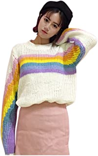 Womens Rainbow Pullover Sweater Top