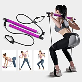 GIARIDE Pilates Bar Kit with Resistance Band, Yoga Pilates Stick Muscle Toning Bar with Foot Loop, Portable Home Gym Pilat...