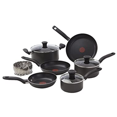 T-fal A821SA Initiatives Nonstick Inside and Out, 10-Piece, Black