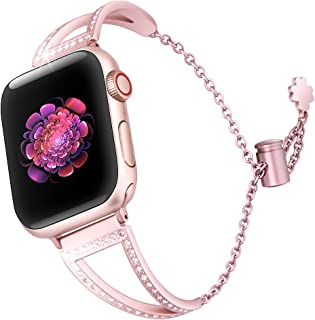 Ecoastal Bling Band Compatible with Apple Watch Band 38mm 42mm Women, Replacement for Apple iWatch Series 5 4 3 2 1 Stainless Steel Wrist Bands with Adjustable Buckle Chain, 38mm 40mm, Rose Gold