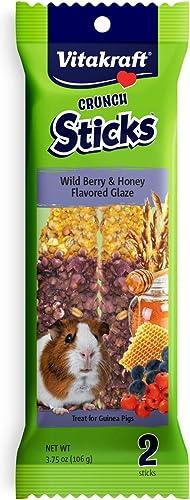 Vitakraft Guinea Pig Wild Berries & Honey Treats Sticks Glazed With Yogurt 2 Pack, 3.75 Ounce