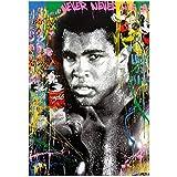 Póster y retrato con temática de graffiti King Ali de boxeo pesado, mural moderno Art Deco para sala...