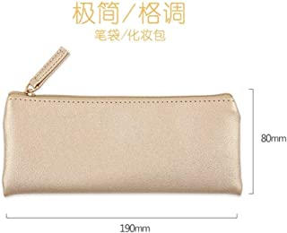YWSCXMY-AU Simple Black Gold and Silver Pink Leather Pencil Case School Supplies S Stationery Storage Bag Pencil Case (Color : Gold)