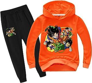 Silver Basic Niños Dragon Ball Sudadera con Capucha y Pantalones Chándal Anime Japonés Son Goku Sudadera y Pantalones Conj...