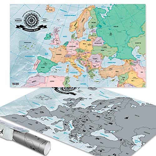 GOODS+GADGETS Scrape Off World Map Europa - XXL Weltkarte zum frei Rubbeln 82 x 45 cm - Rubbel Landkarte Deluxe Wandbild