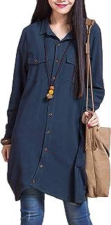 Romacci Women Button Down Long Blouse Casual Cotton Linen Plus Size Top Shirt Dress Dark Blue