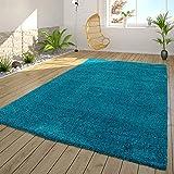 Alfombra de pelo largo para salón, Shaggy, suave, acogedora y moderna, color turquesa, tamaño: 80 x 150 cm