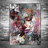 RTCKF Abstrakte Kunst Graffiti Mädchen Fototapete auf Leinwand Fototapete Moderne Pop-Art Wohnzimmer Fototapete (ohne Rahmen) A6 70x100cm