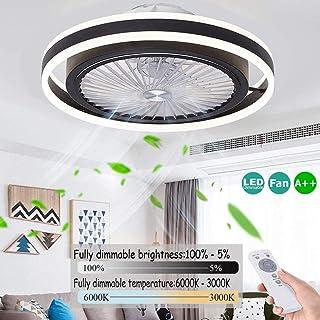 Ventilador De Techo Con Luz Y Mando Velocidad Del Viento Ajustable LED Regulable Ventilador De Techo Infantil Infantil Habitación 48W Silencioso Ventilador De Techo Con Luz Inspire Bajo Ruido,Negro