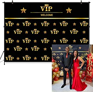 COMOPHOTO VIP Photography Backdrop 7x5ft Royal Crown Black Gold Hollywood Baby Shower Graduation Birthday Party Banner Photo Studio Backgrounds for Pictures