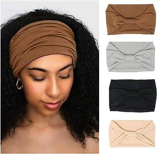 4 Pack Wide Headbands for Women Yoga Sport Workout Running Headband Large African Head Wrap (Pack 001)