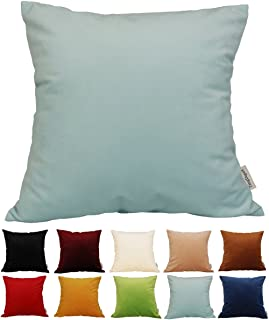 "Best TangDepot Solid Velvet Throw Pillow Cover/Euro Sham/Cushion Sham, Super Luxury Soft Pillow Cases, Many Color & Size Options - (24""x24"", Light Blue) Review"