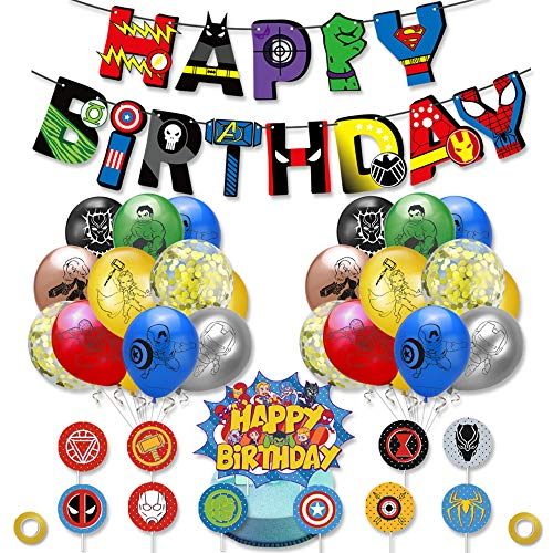 smileh Superhelden Deko Geburtstag Superhelden Luftballons Superheld Alles Gute zum Geburtstag Girlande Banner Superhelden Kuchendeckel