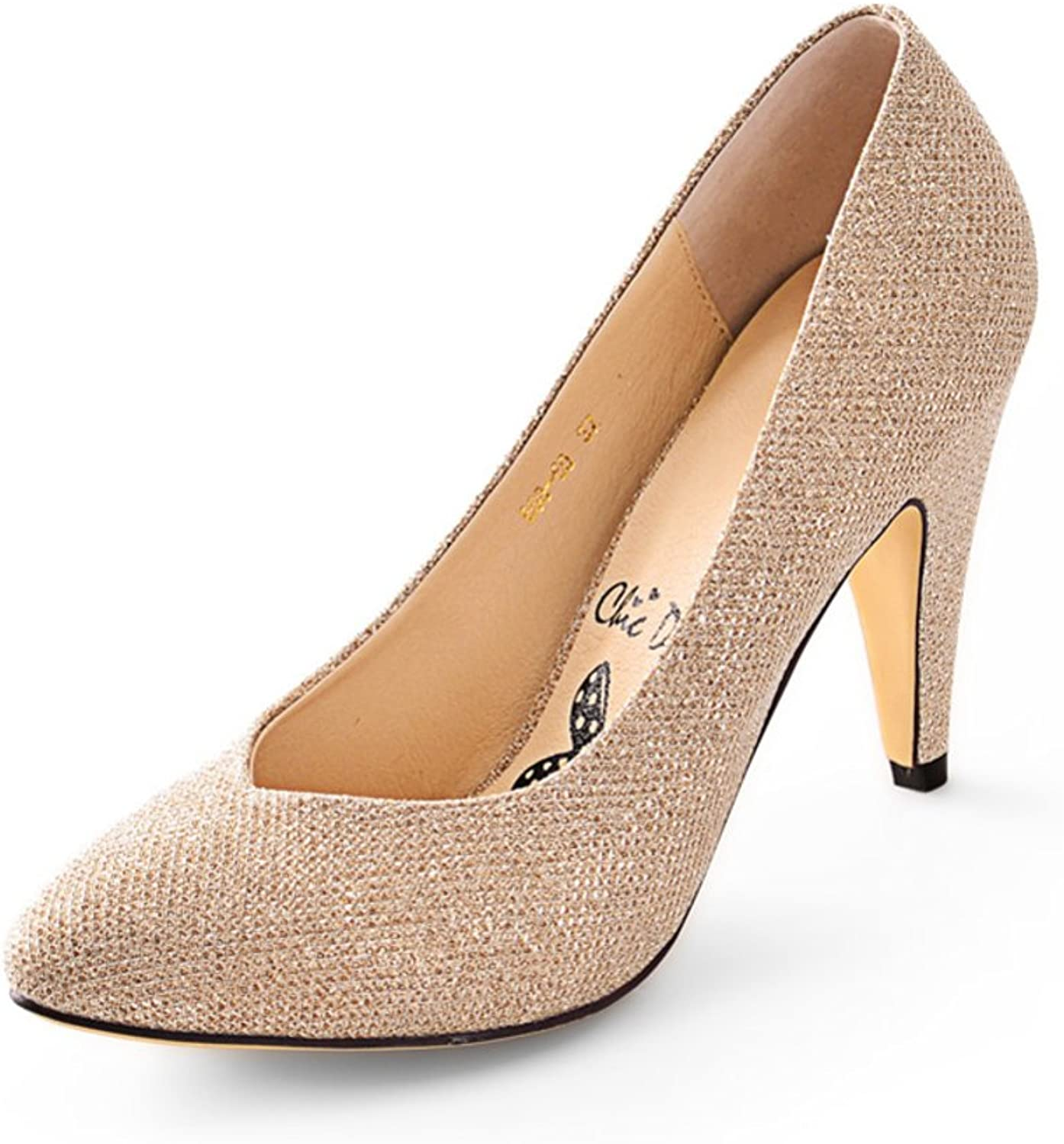 WLJSLLZYQ Elegant Sequin Pointed Stiletto shoes Comfortable shoes with high Light