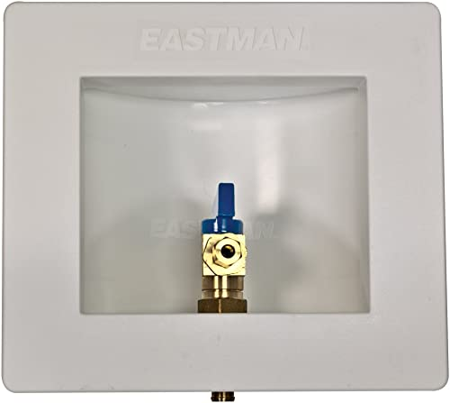 Eastman 60233 PEX Pre-assembled Ice Maker Outlet Box, 1/2 Inch Crimp PEX Connection with Installed 1/4-Turn Ball Valv...