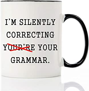 Mecai funny mug-I'm Silently correcting you're Your Grammar,11 OZ Coffee Mugs,Inspirational gifts for friends and sarcasm