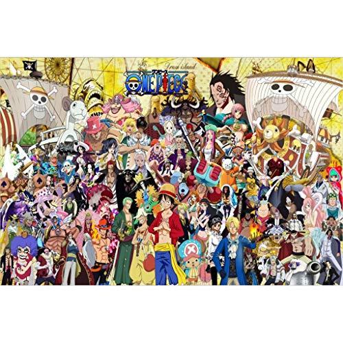 Puzzle House- PT Animación Japonesa Cartel de Rompecabezas de Madera, Comic One Piece Pintura Corte y Ajuste 1000pc Juego de Juguetes en Caja para Adultos y niños 504 (Color : D)