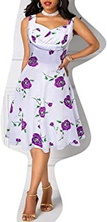Ladies Dresses Women's Dress 1950s Sleeveless Floral Printed Swing Dress Casual