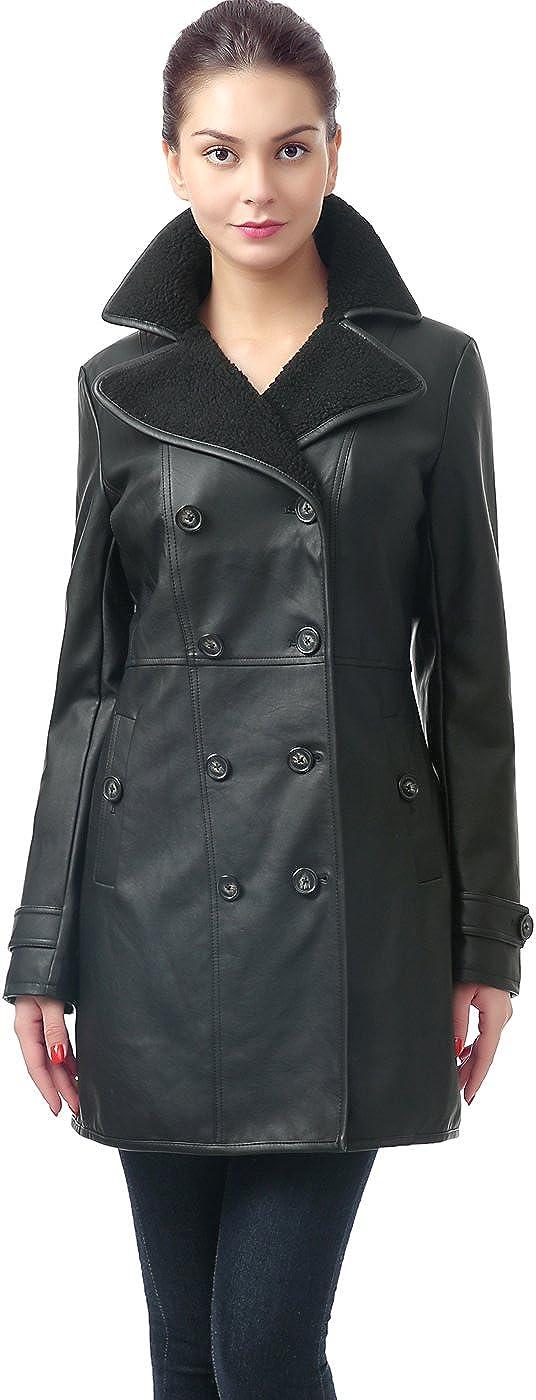 BGSD Women's 'Lorin' Faux Leather Long Walking Coat