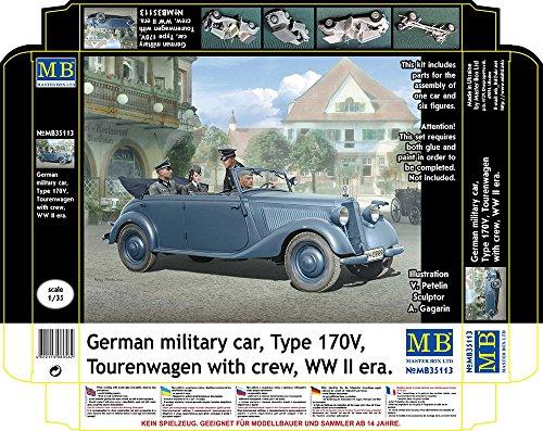 Masterbox Echelle 1 : 35 cm Militaire Allemand Type de voiture/170 V/Tourenwagen avec équipage WWII Kit de Construction (Gris)