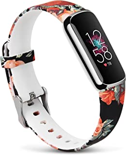 KOREDA Sport Band Compatible with Fitbit Luxe, Floral Silicone Printed Fadeless Pattern Replacement Band Strap Accessories for Fitbit Luxe Fitness and Wellness Tracker (Red Rose)