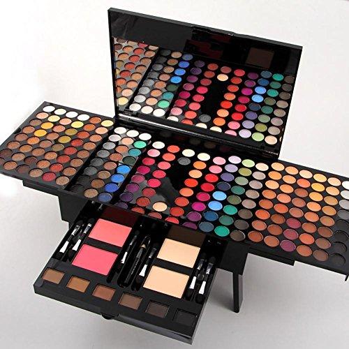 Ensemble de contour professionnel Palette à paupières 180 couleurs Combinaison avec poudre à sourcils, poudre bluphère et poudrage, boîte à maquillage cosmétique avec miroir