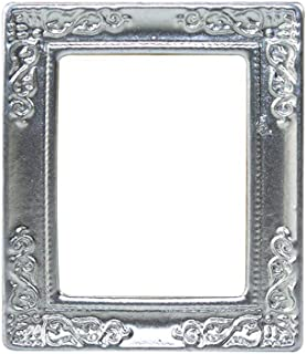 SGYH 1:12 Dollhouse Furniture Accessories, Miniature Alloy Photo Frame for 1/12 Scale Dollhouse Decorative Scene Model Craft Furniture (Silver)