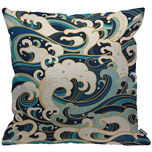 HGOD DESIGNS Housses de Coussin Océan vagues japonais traditionnel oriental avec mousse éclaboussures Taies d'oreillers Maison Décoration Pour Hommes Femmes...