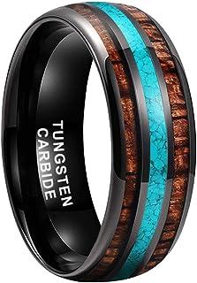 iTungsten 8mm Silver/Black/18K Gold Tungsten Wedding Bands Engagement Rings for Men Women Turquoise Granules Koa Wood Inla...