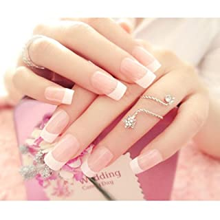LuckySHD 24Pcs Fashion Style Bridal Wedding False Nail Full Design Nail Tips Pink Fake Nails Art Tips