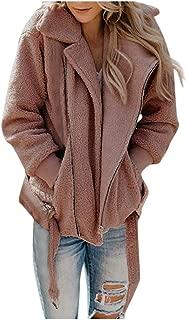 Xinantime Womens Lapel Zip Up Faux Fur Shearling Fuzzy Fleece Jacket Teddy Bear Coat Warm