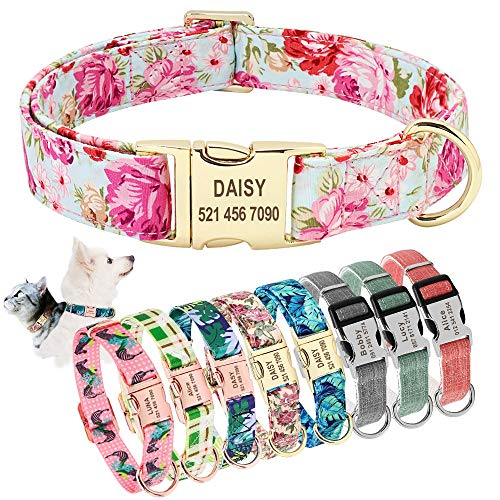 AEAP Dog Collar Personalized Custom Nylon Pet Dog Tag Collar Engraved Puppy Cat ID Tag Nameplate Collars for Small Medium Large Dogs