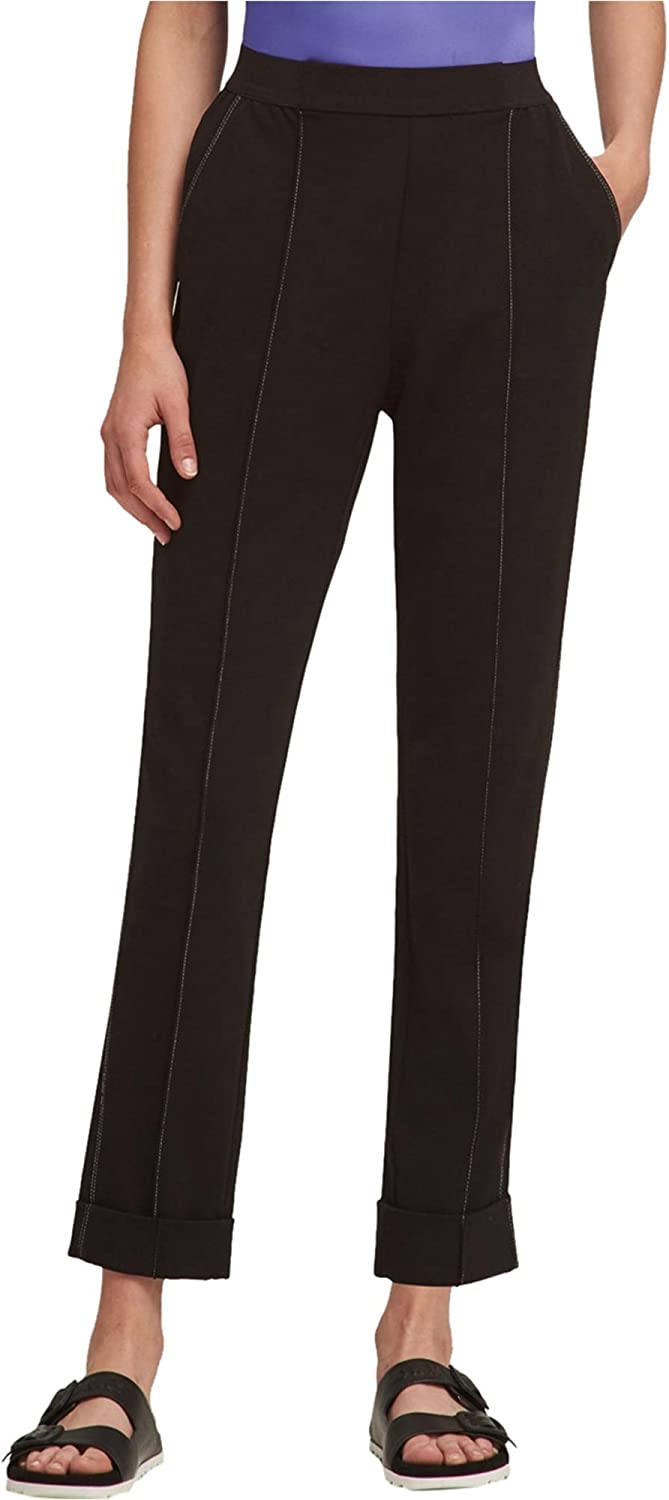 DKNY Womens Pull On Casual Trouser Pants, Black, Small