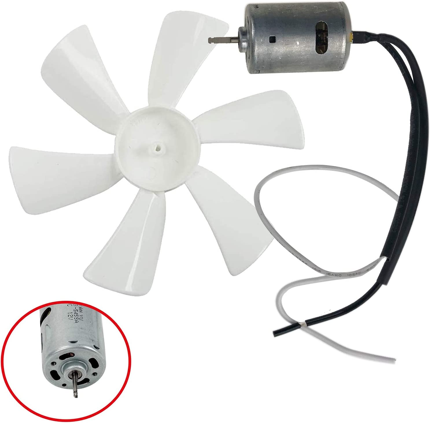 LucaSng 6 inch RV Fan White Vent Fan Blade with 12V D-Shaft RV Vent Motor Replacement Camper Fan Blade Bathroom Fan Home Bathroom Mobile Home RV Motor