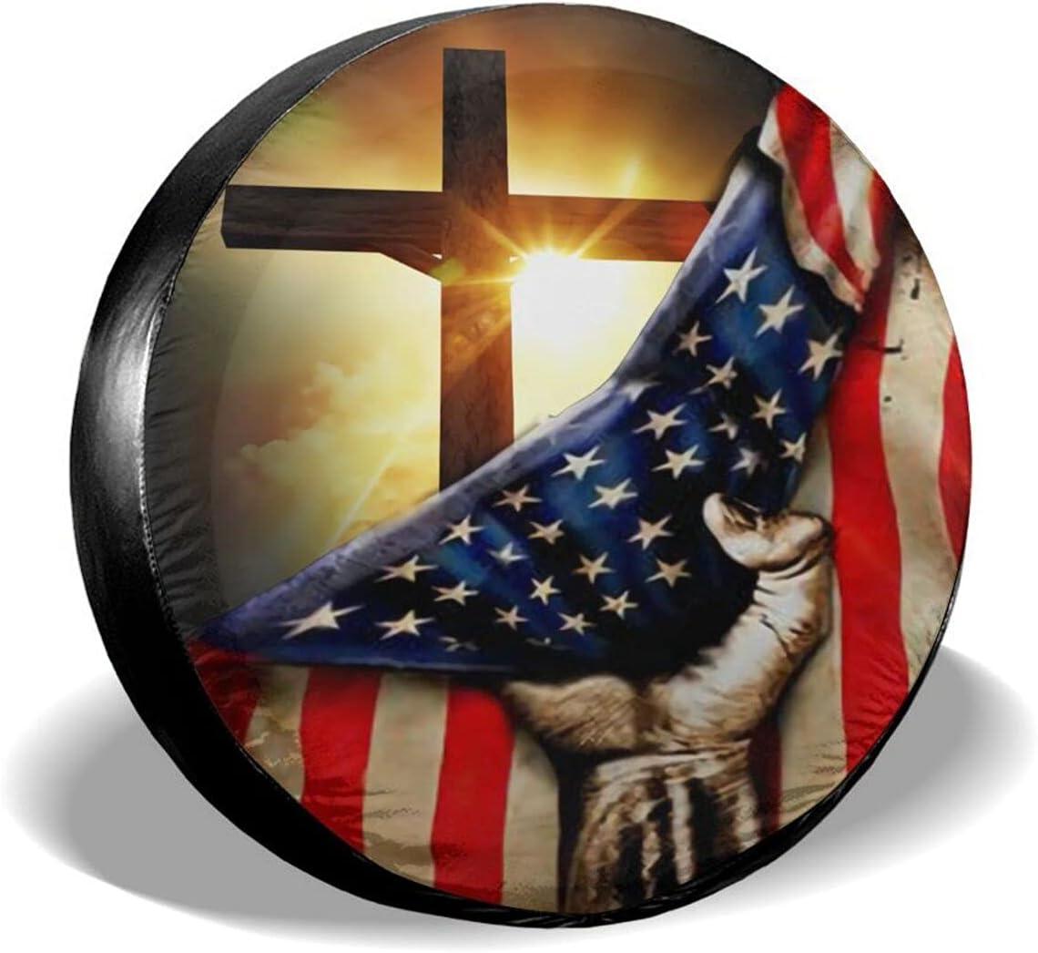 Gnimnehs 2021 American Christian Cross Cov Wheel Sales for sale Waterproof Patriotic