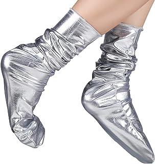 Calcetines Brillantes reflexivos de Moda de la Discoteca Mujeres acrílicos de otoño e Invierno Pila de Calcetines