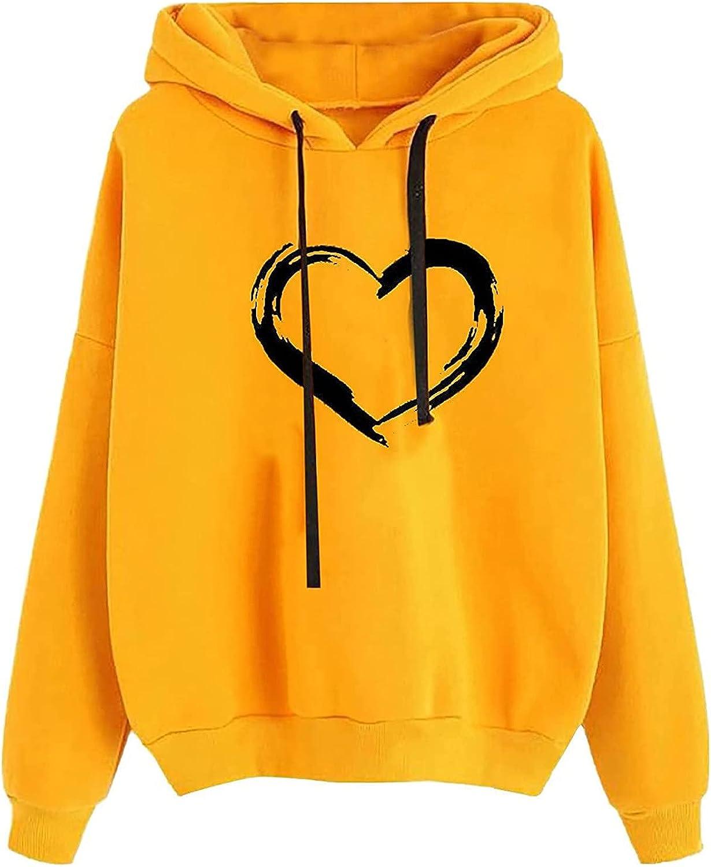 HIRIRI Loose Hoodies for Women online Time sale shopping Pullover L Print Heart Drawstring