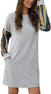 Women Autumn Color Loose Straight Dress Stripe Stitching Long Sleeves O Neck Casual Mini Dress
